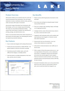 eDocuments for SunSystems brochure