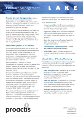Proactis Contract Management brochure